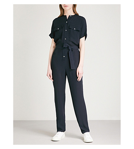 THEORY Cargo silk-georgette jumpsuit (Deep+navy
