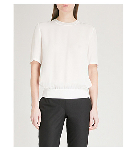 THEORY Relaxed-fit silk T-shirt (Ivory