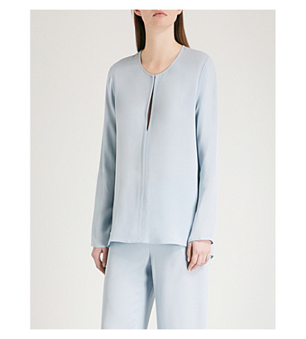 THEORY Slit-front silk-crepe top (Deep+morning+blue