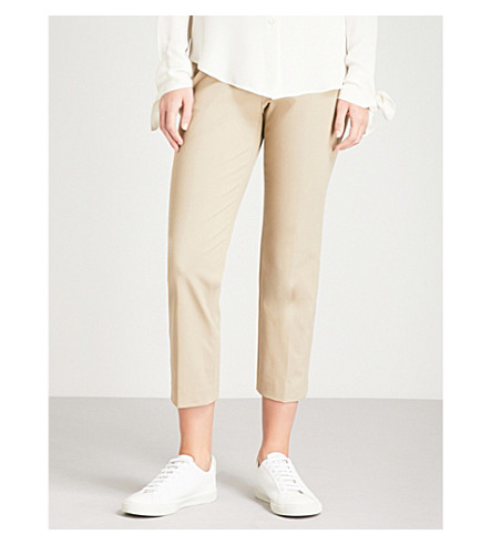 THEORY Slim-fit cropped crepe trousers (Washed+khaki