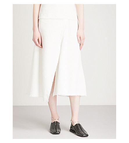 THEORY Flounce bouclé cotton and linen-blend midi skirt (Ivory