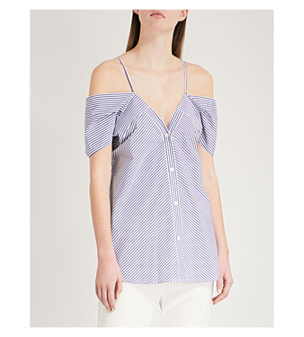 THEORY Striped cold-shoulder cotton top (Blue/white
