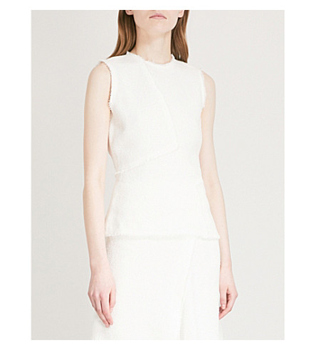 THEORY Seamed bouclé cotton and linen-blend top (Ivory