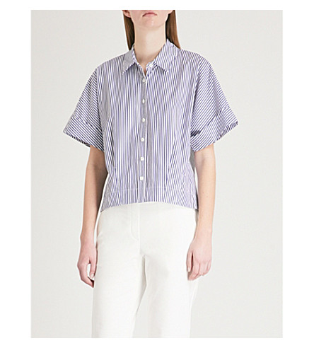 THEORY Striped cropped cotton shirt (Blue/white