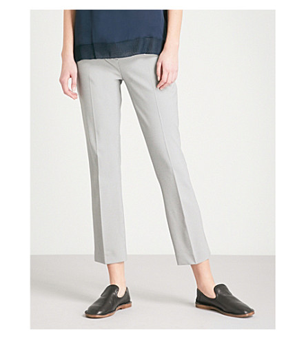 THEORY Classic straight mid-rise woven trousers (Black/ivory