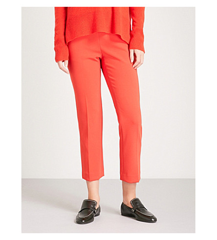 THEORY Slim-fit cropped crepe trousers (Tomato
