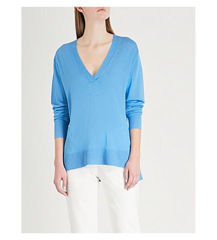 THEORY V-neck silk-blend jumper (Bermuda+blue