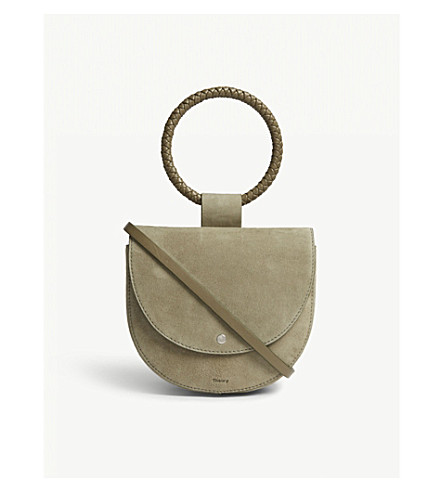 THEORY Whitney braided suede shoulder bag (Military+green