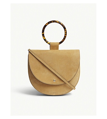 THEORY Whitney suede shoulder bag (Tan
