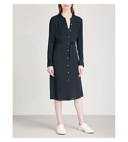 THEORY Effortless silk-georgette tunic dress (Deep+navy
