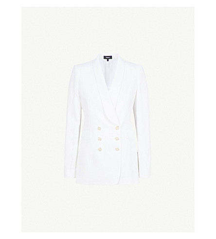 THEORY Double-breasted linen blazer (White