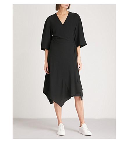 THEORY Kimono-sleeve crepe wrap dress (Black