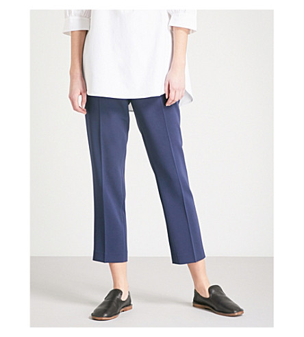 THEORY Terena straight mid-rise crepe trousers (Deep+navy