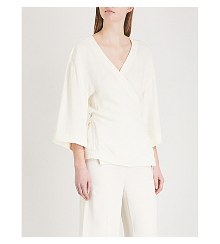 THEORY Elevated crepe wrap top (Ivory