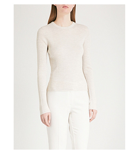 THEORY Fine-knit silk-blend top (Light+heather+beige