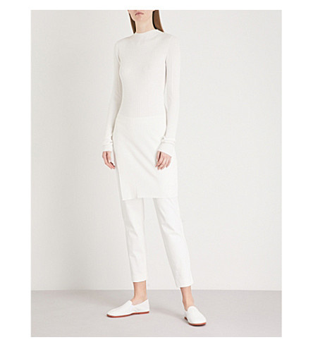 THEORY Jewel ribbed-knitted tunic jumper (Eggshell