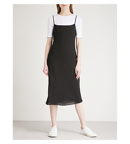 THEORY Ribbed-trim silk-chiffon dress (Black/ivory