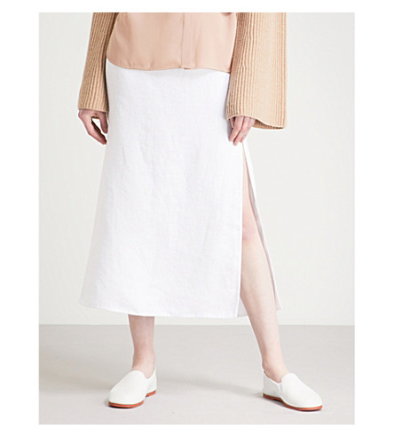 THEORY Side-slit linen and cotton-blend midi skirt (White