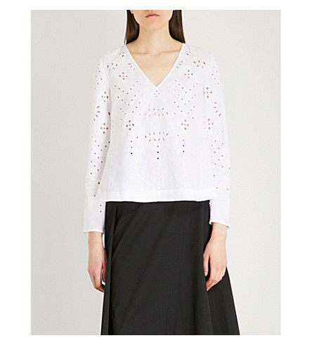 THEORY V-neck broderie anglaise linen top (White