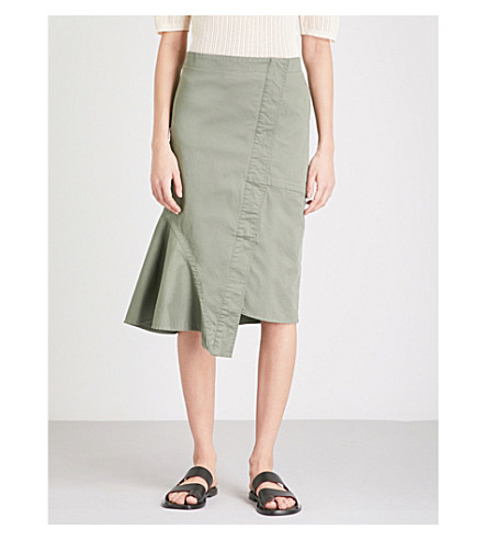 THEORY Reconstructed cotton-blend midi skirt (Faded+army