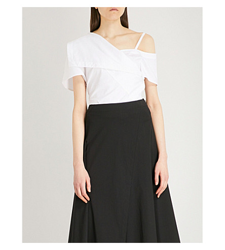 THEORY Off-the-shoulder Foldover cotton-blend top (White