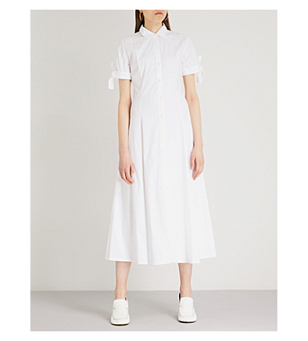 THEORY Tie-sleeve cotton-blend shirt dress (White