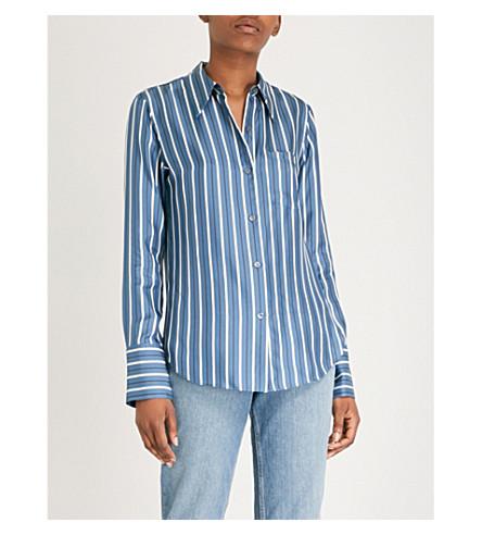 Camisa rayas de santorini de wgl TEORIA seda azul estampado santorini con dCO5xY