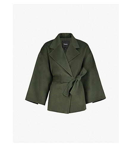 THEORY Cropped wool and cashmere-blend coat (Spanish green
