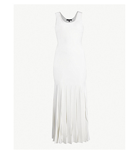 THEORY Pleated stretch-knit midi dress (Eggshell/ivory
