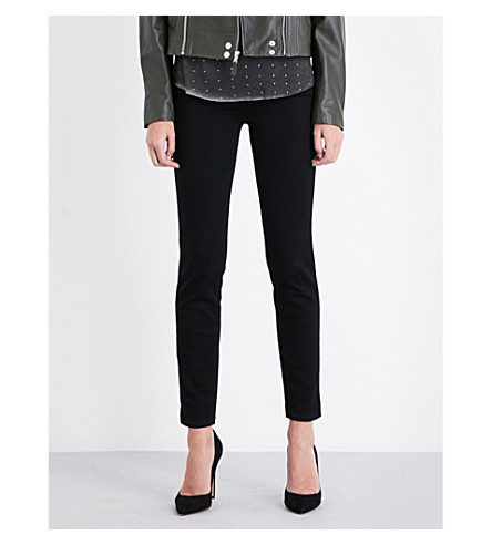 PAIGE Skyline Ankle Peg skinny mid-rise jeans (Black+shadow