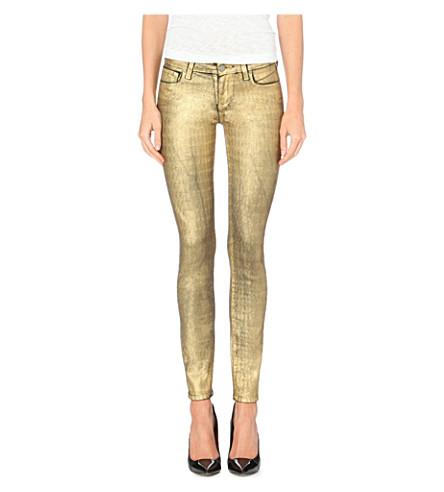 PAIGE DENIM Verdugo metallic skinny jeans (Gold hologram