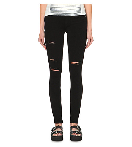 PAIGE Verdugo ultra-skinny mid-rise jeans (Black+shadow+destructed