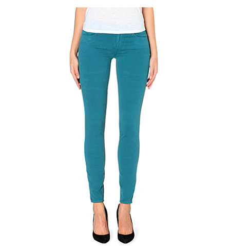 PAIGE DENIM Verdugo Sateen super-skinny mid-rise stretch-denim jeans (Deep turquoise
