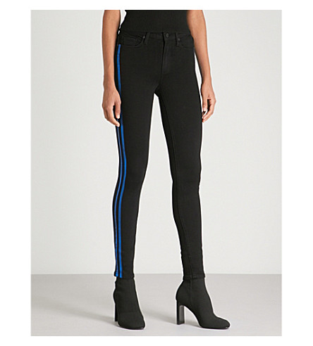 PAIGE Hoxton striped-panel skinny cropped mid-rise jeans Electric blue Cheap Footlocker Finishline TZ2obc