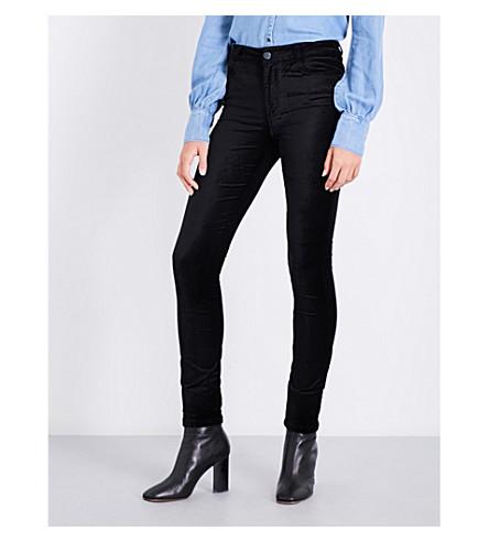PAIGE Hoxton skinny high-rise velvet jeans (Black