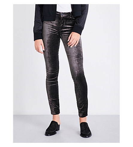PAIGE DENIM Hoxton skinny high-rise velvet jeans (Vintage+deep+juniper
