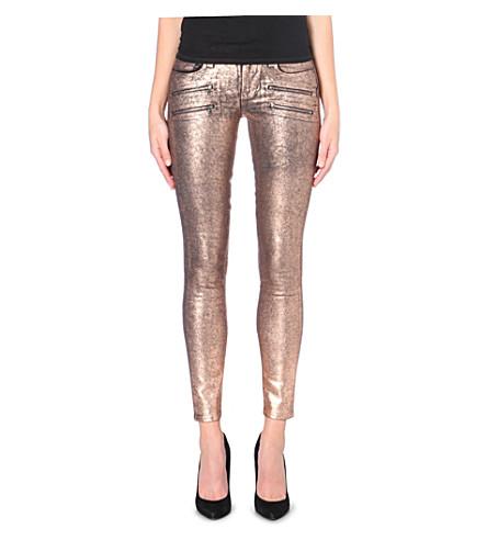 PAIGE DENIM Edgemont metallic skinny mid-rise jeans (Copper crackle