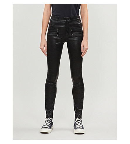 PAIGE Edgemont skinny mid-rise leather jeans (Black