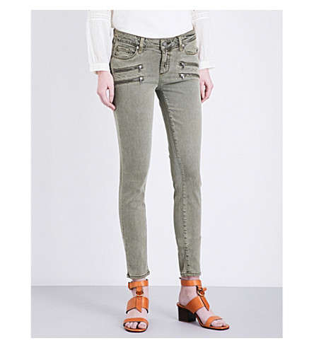 PAIGE DENIM Edgemont skinny mid-rise jeans (Sahara+green