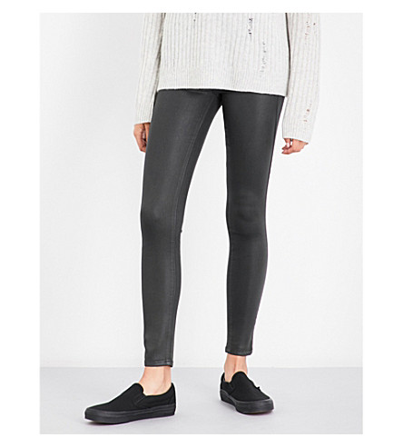 PAIGE DENIM Hoxton Ankle coated skinny mid-rise jeans (Deep+juniper