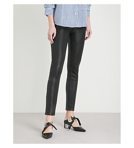 PAIGE Hoxton Ankle ultra-skinny high-rise coated stretch-denim jeans (Black+fog+luxe