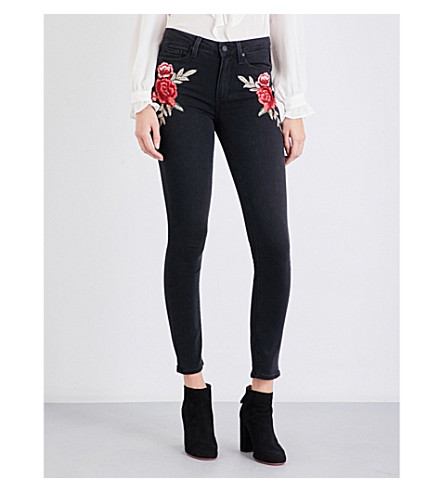 PAIGE DENIM Hoxton embroidered skinny high-rise jeans (Noir+bloom