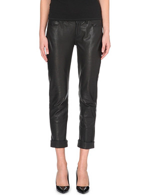 PAIGE DENIM Jimmy Jimmy cropped leather trousers