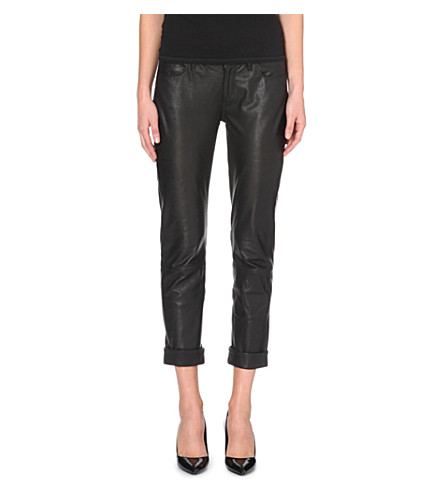 PAIGE DENIM Jimmy Jimmy cropped leather trousers (Black