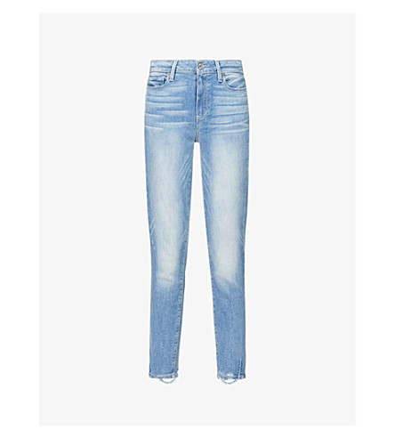 PAIGE Hoxton frayed-hem ultra-skinny high-rise jeans (Atterbury+w+torn+hem