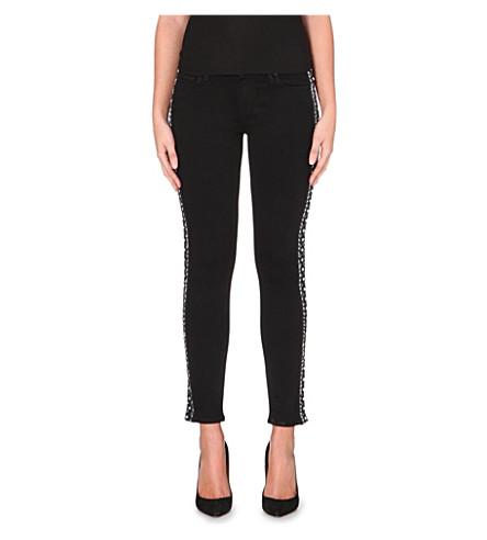 PAIGE DENIM Mid-rise embellished skinny jeans (Black shadow