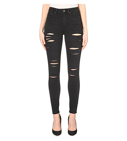 PAIGE DENIM Margot distressed ultra-skinny high-rise jeans (Kiko destructed