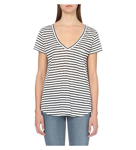 PAIGE DENIM Lynnea striped linen T-shirt (White/dark+ink+blue