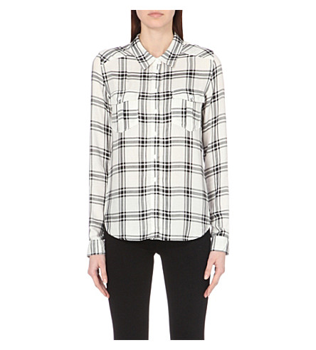 PAIGE DENIM Mya checked shirt (White/black