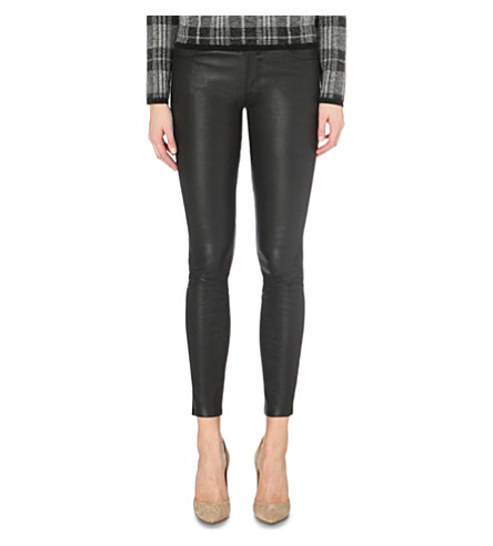 PAIGE DENIM Verdugo skinny mid-rise leather trousers (Black